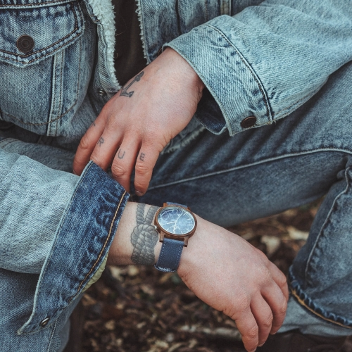 Ø41mm Walnuss | blauer Marmor mit Jeans-Band (Canvas)